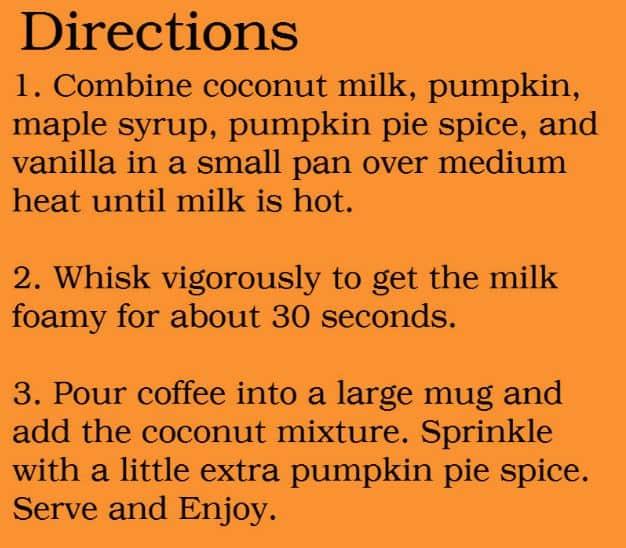 Pumpkin Spice Latte Directions