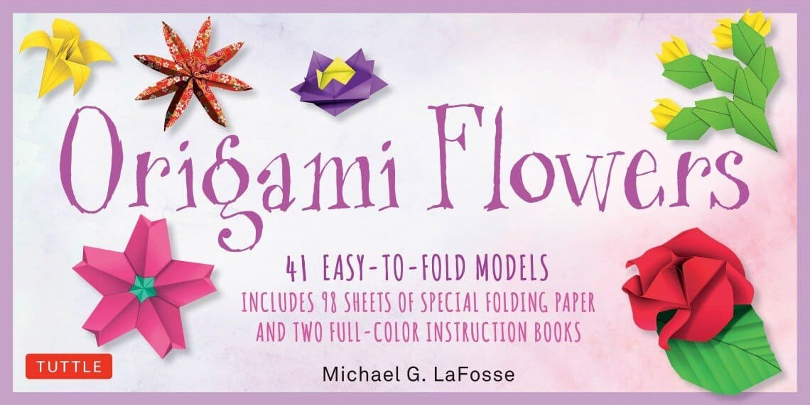 ORIGAMI PAPER 45 SHEET 10 FLOWER KIT w// PICTURE INSTRUCTION BOOKLET