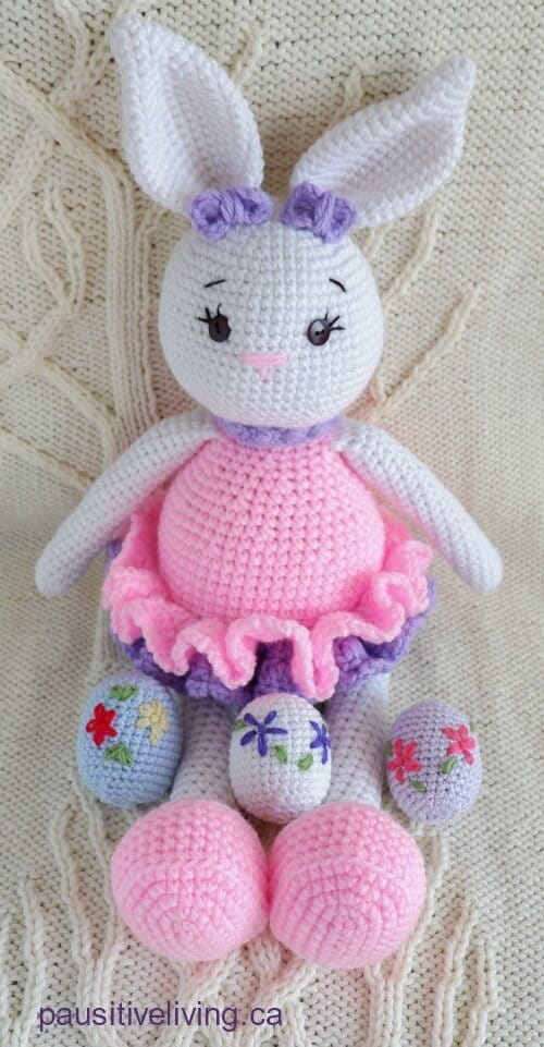 Crochete Bunny doll and 3 Easter eggs