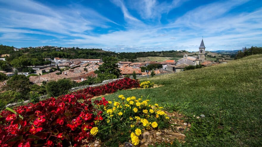 Town of Laurtrec, France view from field of flowers