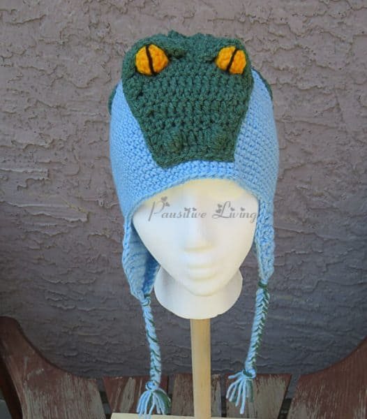 Crocheted Crocodile Hat Front.  Christmas craft ideas.