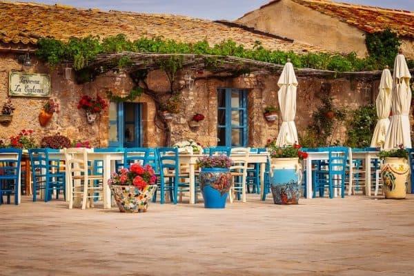 Marzamemi main piazza. Local cafe. Pixabay image
