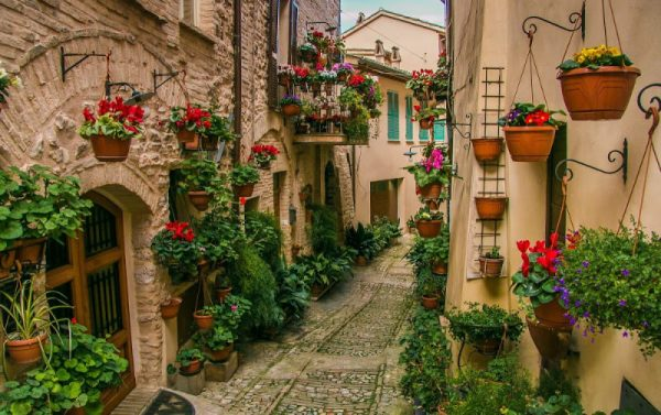 Quaintly adorned stone homes with geraniums in Spello, Italy. Deposit